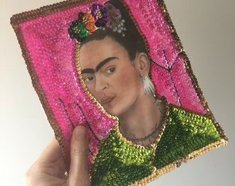Frida kahlo applique Large Sequin Patch for sewing crafting collage artwork / Bead applique