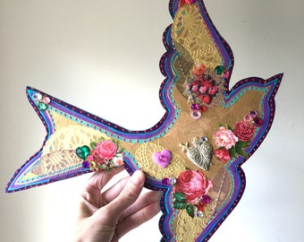 RESERVED Large folk art swallow bird rockabilly floral sacred heart wall hanging