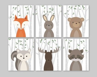 Animal Nursery Art, Woodland Nursery Decor, Baby Animals Room Decor, Forest Animal Prints, Set of 6 Fox Rabbit Bear Squirrel Moose Raccoon