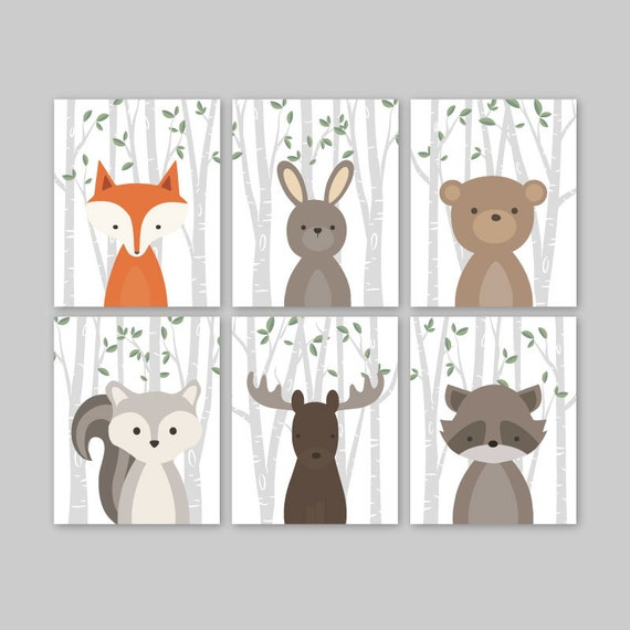 animal nursery art woodland nursery decor baby animals room. Black Bedroom Furniture Sets. Home Design Ideas