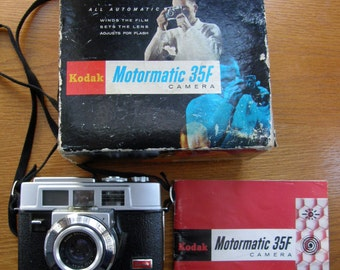 Kodak Motormatic 35F 35mm Camera with Built in Motor Winder with Box and Instruction Booklet