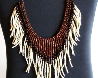 Beaded necklace,  copper, black and cream