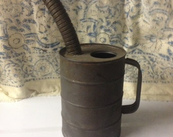 Vintage Oil Can with Spout Metal Home Decor Repurpose