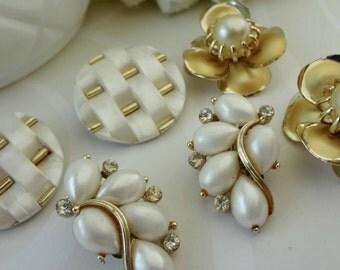 3 Sets Vintage Clip On Earrings / Wedding Whites / LISNER / Cluster Clips / Lot of Earrings
