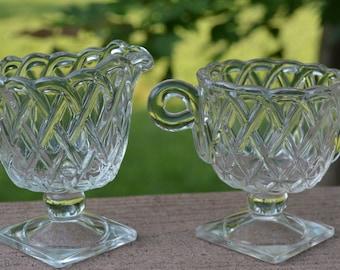 Pretzel Pattern Sugar and Creamer Set by Indiana Glass