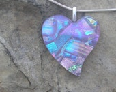 Reserved Listing-Mauve Heart Pendant Fused Dichroic Glass Heart Necklace