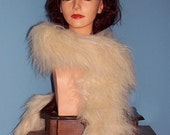Faux Fur Boa in Beige with Gold Sparkle Lyrex