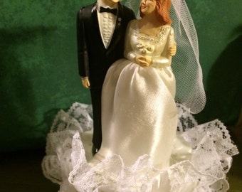 Vintage Wedding Cake Topper. Wedding Cake Bride and Groom