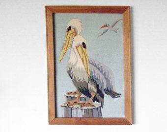 Large Framed Sitched Pelicans, 19 x 27, Vintage