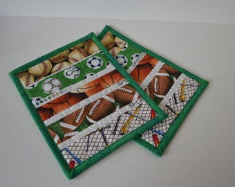 Sport Mug Rug, Quilted Snack Mat, Cotton Coaster, Fathers Day gift, Under 10, man cave decor, Dad, Grandpa, Brother