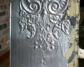 """12"""" Antique Tin Ceiling Tile -- Original Silver Colored Paint - Beautiful and Ornate Design"""
