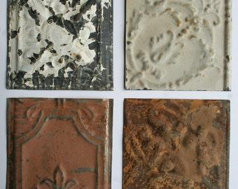 Genuine Antique Ceiling Tin -- 6 inch Tiles --  Crafts, Backsplashes, Birdhouses -- E3