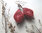 Red Cinnabar Earrings, Red Bohemian Dangle Earrings, For Her, Retro Boho Cinnabar Earrings