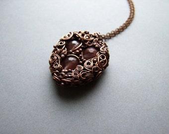 Cherry Quartz Necklace, Healing Autumn Necklace, Quartz Jewelry, Boho Woodland Quartz Necklace