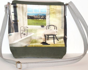 Bathroom Window black upcycled jeans and moss green medium purse adjustable strap