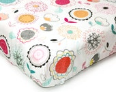POPPIES - Floral crib sheet- Baby girl bedding - floral crib bedding - changing pad cover- yellow pink mint baby bedding- crib fitted sheet