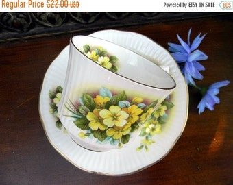 Teacup Tea Cup and Saucer  - Queens Rosina Yellow Florals -  English Bone China 10691
