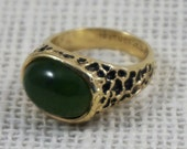 Spinach Green Jade Jadeite 18K Gold Filled 18kt HGF Brutalist Ring 1970s