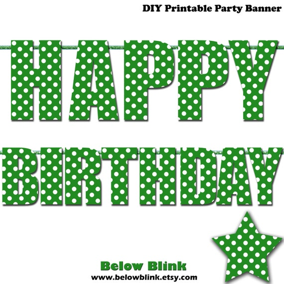 green happy birthday letter banner green polka dots photo