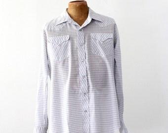 FREE SHIP  vintage men's plaid western shirt