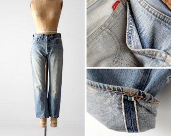 FREE SHIP  Levis 501 selvedge jeans, vintage Levi's red line single stitch denim jeans 30 x 27