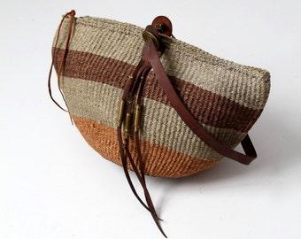 sisal tote, jute and leather market bag, basket bag, beach bag