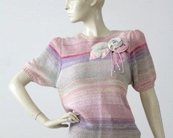 SALE 1980s pastel knit top, short sleeve sweater blouse