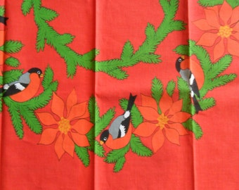 Vintage Danish tablecloth for Christmas / brigth colors 50s / 60s