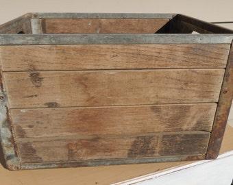 Vintage Wood and Metal Milk Crate.
