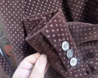 1970s Deep Brown Polka Dot Velvet 2 Piece Mens Suit