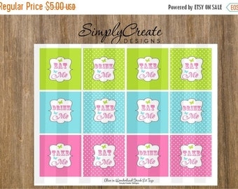 SALE Tea Party Eat, Drink, Take Me Tags Toppers DIGITAL File 8.5  x 11 JPEG file Instant Download