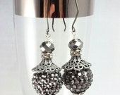 ON SALE Silver Black Long Dangle Earrings, Pave Bead Earrings, Sparkle Earrings, New Years Eve, Prom