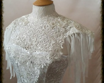 Couture  lace tattoo ivory bib epaulette necklace COLLAR  BURLESQUE  Gothic Wedding sexy  Festival