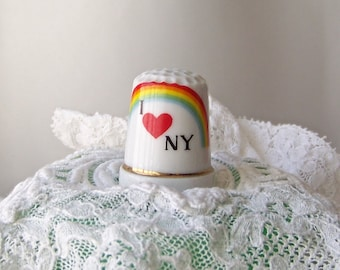 Vintage Thimble New York Big Apple I Love New York Thimble Collector Sewing Room Thimbles Vintage 1980s