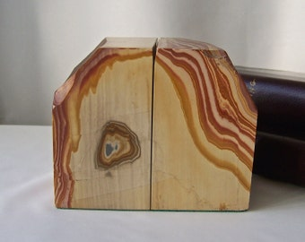 Vintage Marble Bookends Polished Stone Bookends 1970s