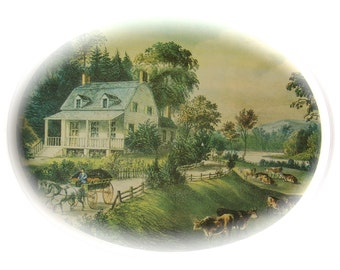 Vintage Currier And Ives Serving Tray American Homestead Summer Historical Americana Platter 1980s