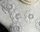 Vintage Applique - 4 pcs Grey Flower Applique Trim (A342)
