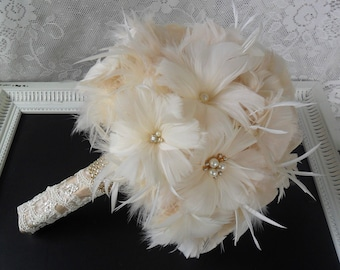 Feather Bridal Bouquet, Wedding Bouquet, Gold Bouquet, Brooch Bouquet, Gatsby Bouquet, Alternative Bouquet,Vintage Style Bouquet,MANY COLORS