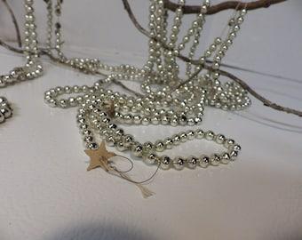 Vintage silver mercury glass garland- 2 strands- over 17 feet!