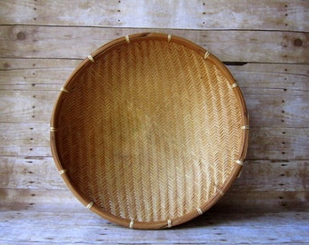 Extra Large Shallow Basket - Wall Hanging - Wicker Tray - Winnowing Basket