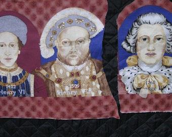 Kings Fabric Portraits.  Six Faces approx. 5x7 inches
