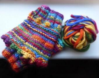 Rainbow Cosy Wrist Warmer Cuff Set