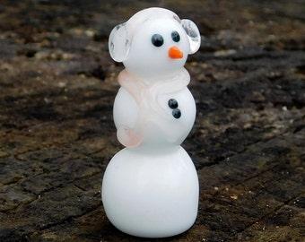 Hand Sculpted Glass Snowman Ornament, Scarf and Earmuffs