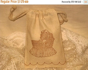 Christmas in July Vintage Baby Carriage Muslin Gift Favor Pouches set of 6