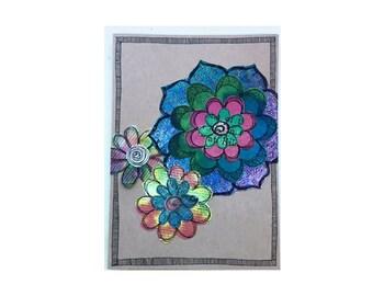 Handmade Blank Card - Paper Flower Garden series 1 - 5x7 (PFGL-0040)