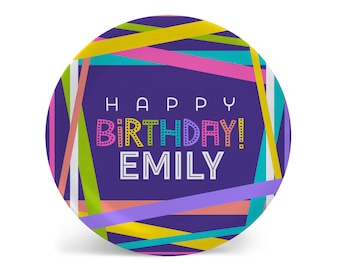 Personalized Melamine Plate-Happy Birthday Ribbons Colorway One