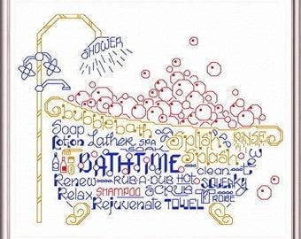 Let's Take a Bubble Bath - Imaginating Cross Stitch Pattern - Bathroom counted cross stitch pattern - Bathtime cross stitch bathtub