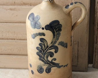 Antique stoneware French jug - crock - hand painted 3 liter