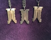 Vintage Linotype Matrix Necklace - Brass Letterpress Piece - Chain Necklace
