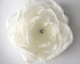 SALE Ivory Vintage Bridal Fabric Flower Hair Clip